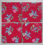 4 Ceramic Coasters in Cath Kidston Christmas Birds Red